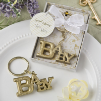 Gold Glitter Baby Themed Key Ring
